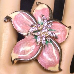Elegant Fancy Flower Rhinestones Sexy Ring
